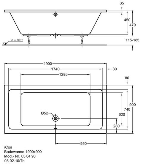 abmessungen badewanne keramag icon badewanne 190 x 90 cm 650490 megabad
