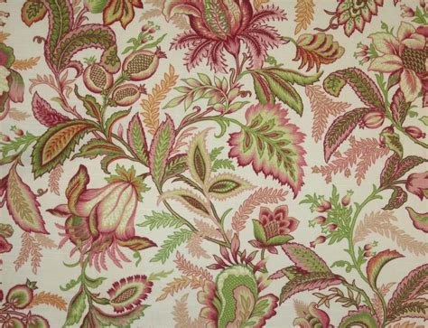 Jacobean Upholstery Fabric by Richloom Wicklojs Pink Jacobean Floral Vine Fabric