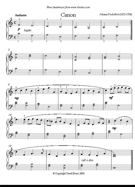 printable piano sheet music canon in d pachelbel canon in d easy version sheet music for
