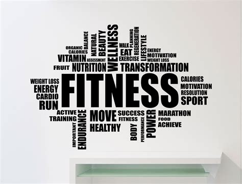 Custom Wall Stickers Quotes fitness motivation word cloud wall sticker gym quote sports