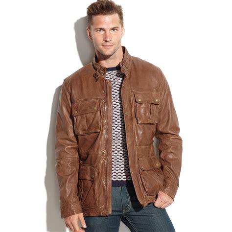 Jaket Kulit Front Belt cole haan vintage leather four pocket moto jacket in brown