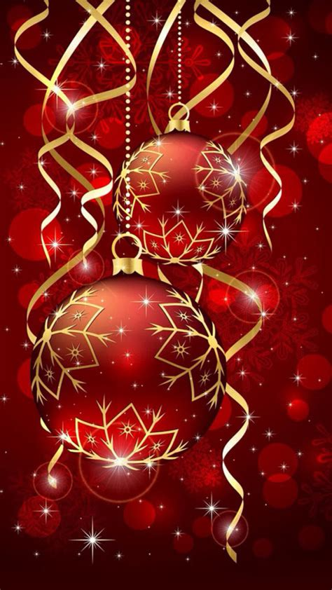 red christmas ball ornaments wallpaper  iphone