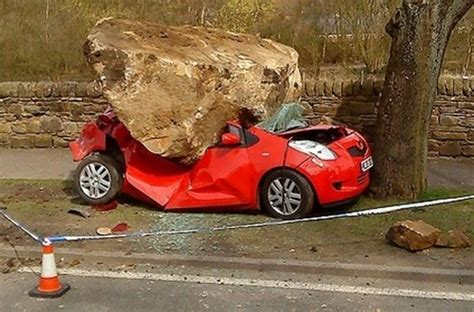 Toyota Of Rock Unsuspecting Toyota Yaris Gets Flattened By Boulder