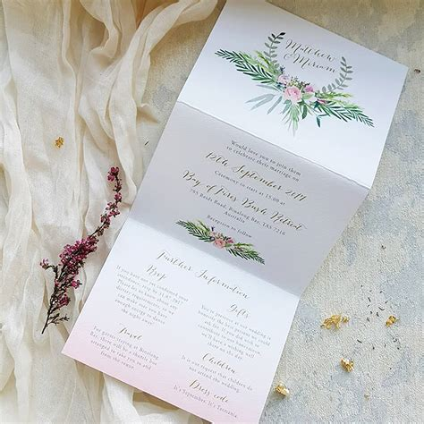 blush foliage tri fold wedding invitation by eastwood notonthehighstreet