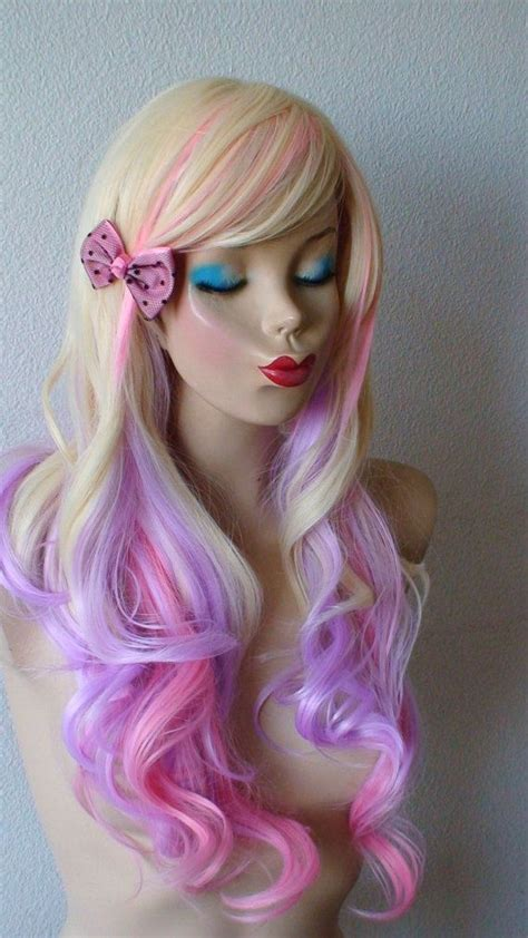 blonde wig colours blonde pink and lavender color ombre wig long wavy by