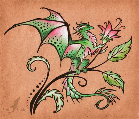 flower dragon tattoo design by alviaalcedo on deviantart