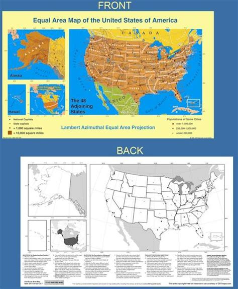 view a map of the united states equal area map of the united states laminated or paper