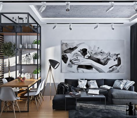 Green And Black Interior Design by Small Artsy Monochromatic Loft With A Luxe Vibe Daily