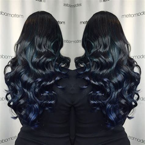 lacquer black hair color with midnight blue hair