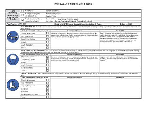 osha risk assessment template ppe hazard assessment form