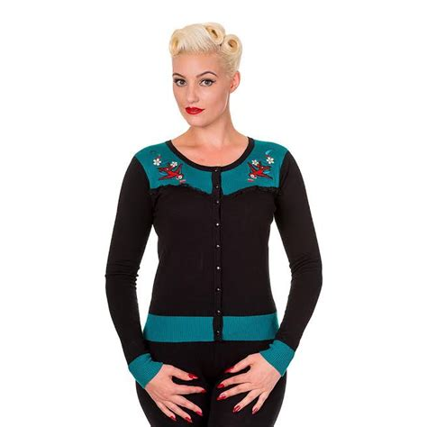 embroidered swallows cherries emily cardigan by banned
