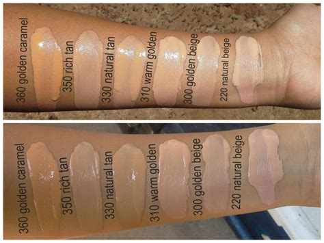 shimmery pastels revlon colorstay foundation swatches