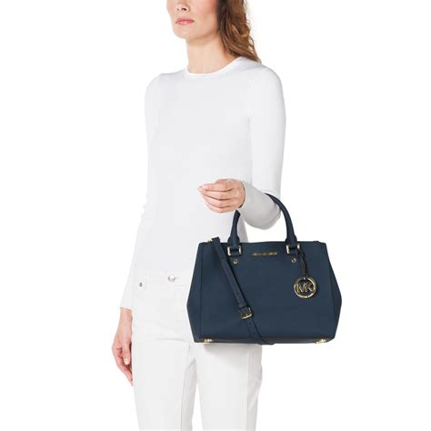 Michael Kors Sutton Medium Electric Blue And Navy michael kors sutton medium saffiano leather satchel in blue lyst
