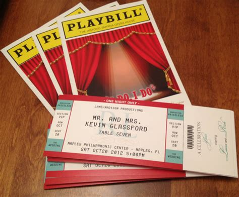 A Place Tickets Playbill Theater Wedding Ticket Place Cards Seating
