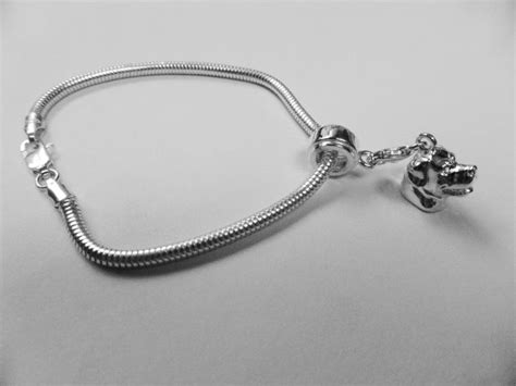rottweiler charm sterling silver fits pandora