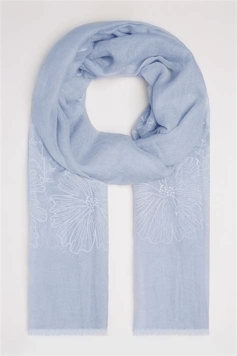 Find By Address Only For Free Blue Floral Embroidered Scarf