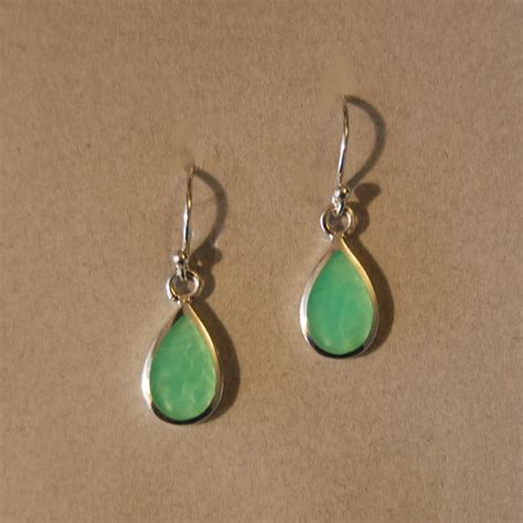 Green Opal Tear Drop Earrings Acleoni Jewelry