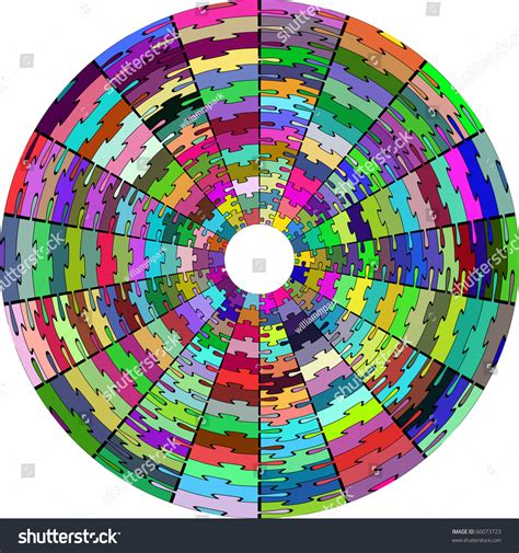 Circular Jigsaw Puzzle In Full Color Stock Vector Illustration 60073723 Shutterstock Circular Jigsaw Puzzles