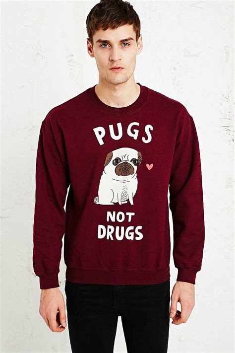 howard pugs not drugs gemma correll pugs not drugs sweatshirt in burgundy i would totally wear this