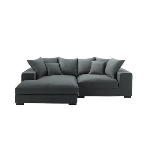 four seater corner sofa 4 seater cotton corner sofa in grey bruges maisons du monde