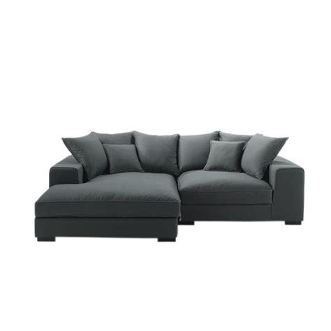 4 seater cotton corner sofa in grey bruges maisons du monde