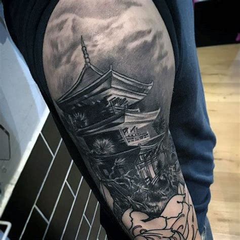 Oriental Realistic Tattoo | mens 3d japanese realistic temple half sleeve tattoo ideas