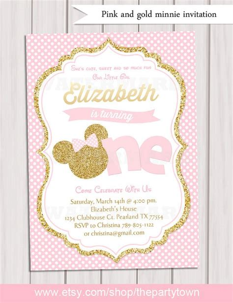 Pink And Gold Minnie Mouse First Birthday Party Invitation Pink And Gold Invitations Templates