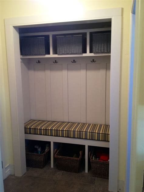 closet bench closet turned mudroom storage bench organization