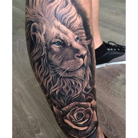 image gallery lion and rose tattoos