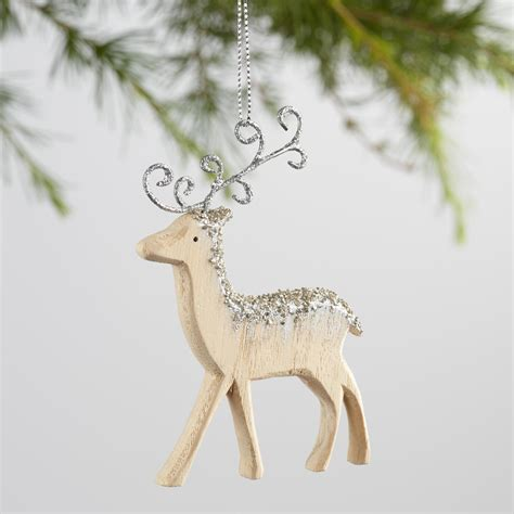 reindeer silver diamond christmas ornament gold silver frosty wood reindeer ornaments set of 2 world market