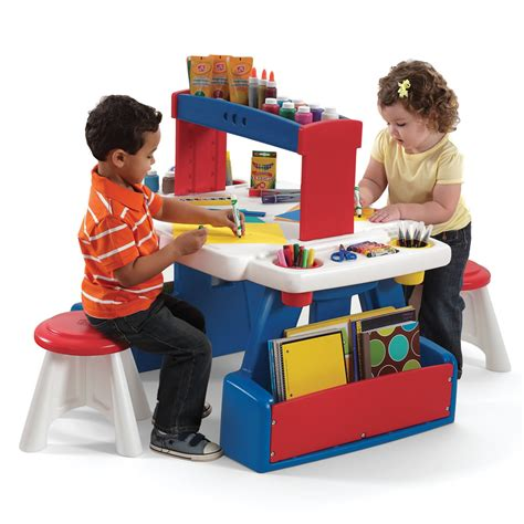 kids art desk step2 creative projects table red blue kids art desk