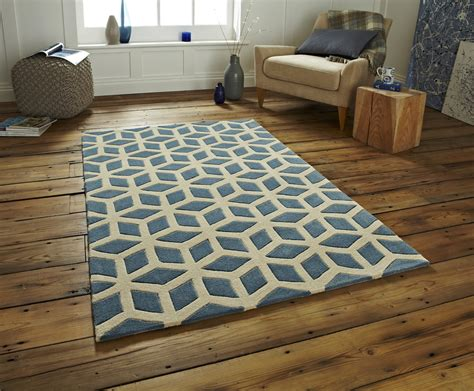 Hand Tufted Optical Illusion Modern Floor Rug With Floor Rugs
