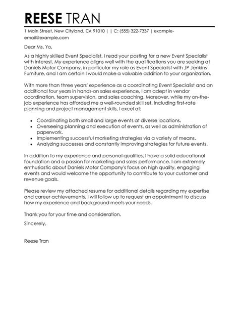 Sle Letter For Event Venue Event Specialist Cover Letter Exles