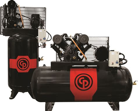 all cast iron design pumps highlight new chicago pneumatic iron series air compressors