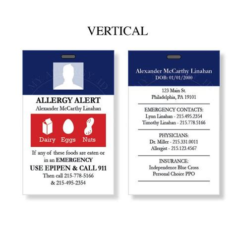 allergy alert card template custom allergy alert college or work id card any by