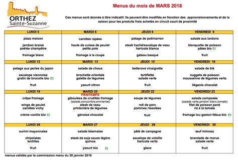 menu cuisine collective menus restaurant scolaire orthez