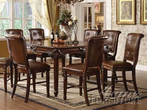 acme dining room sets acme winfred 9pc counter height dining room set in cherry