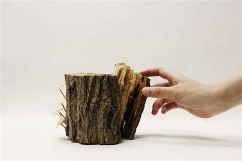 Handmade Modern Book - handmade book covertly inside a wooden tree trunk