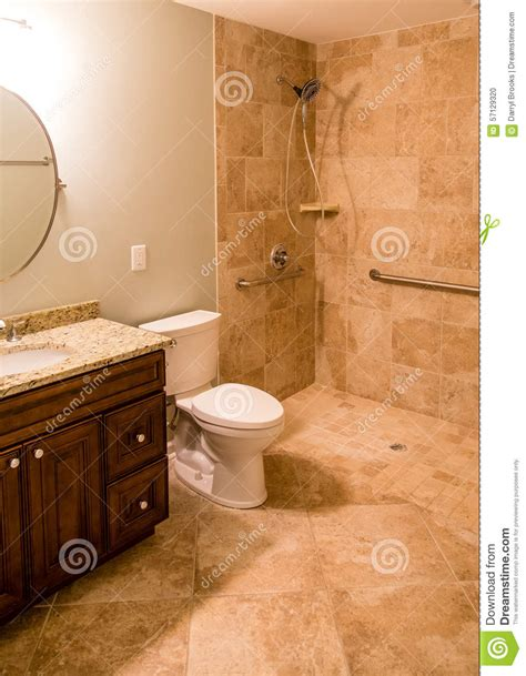 handicapped bathroom showers tile bathroom with handicapped shower stock photo image