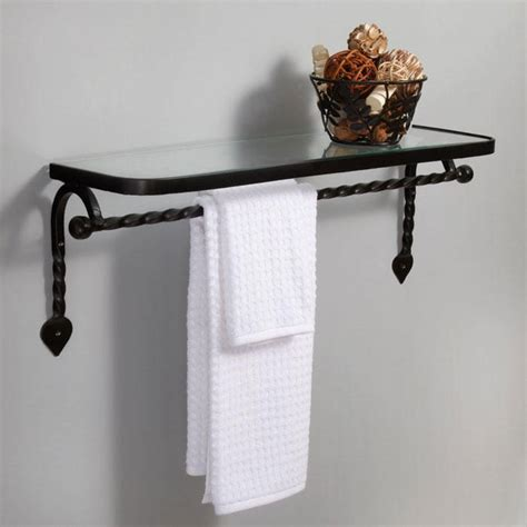Bathroom Glass Shelves With Rail Bathroom Glass Shelf With Towel Rail Bathroom Decoration Plan