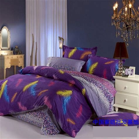 purple and blue comforter sets purple blue feather plume comforter bedding set queen