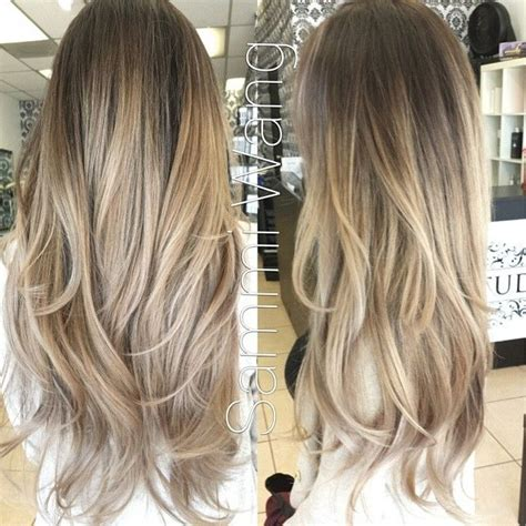 brown and blonde ombre with a line hair cut ash brown roots into ash blonde platinum ombre hair