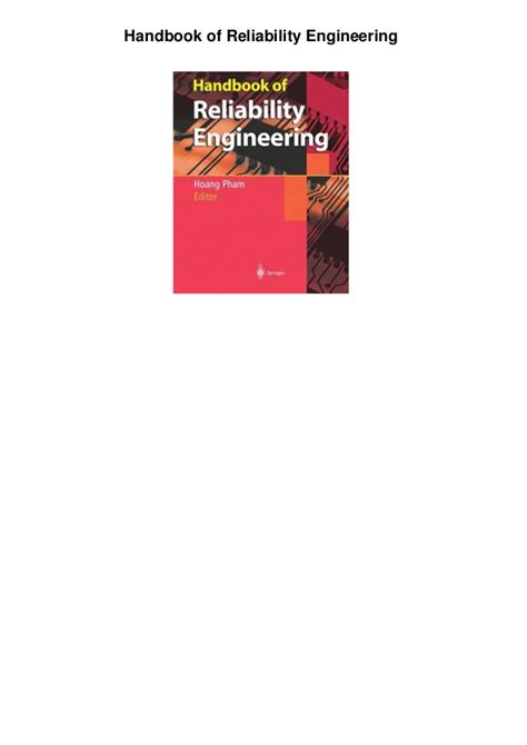 design for reliability electronics handbook series books reliability engineering handbook pdf free