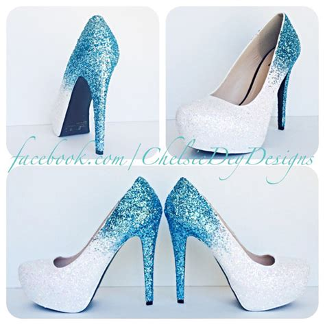 glitter high heels blue and white pumps aqua by