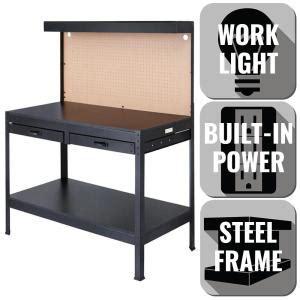 olympia 4 ft w x 5 ft h x 2 ft d black steel workbench
