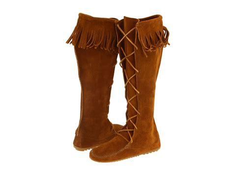minnetonka front lace hardsole knee hi boot zappos