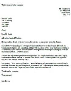 Waitress Cover Letter Example   icover.org.uk