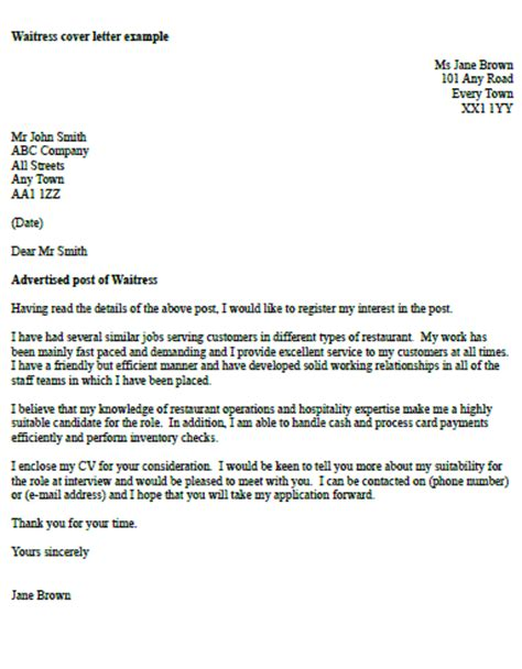 Cover Letter Waitress by Waitress Cover Letter Exle Icover Org Uk