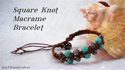 How To Make Macrame Knots - square knot macrame bead bracelet tutorial