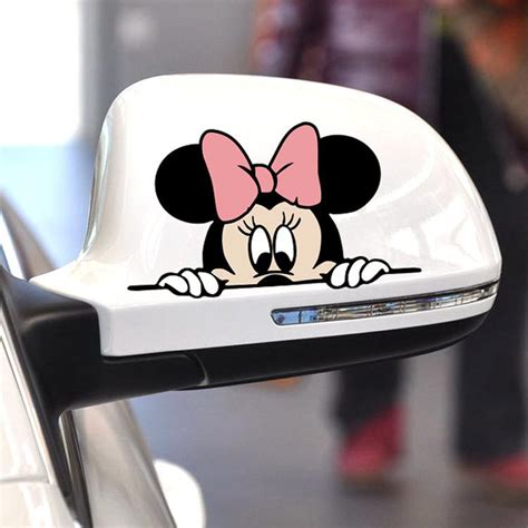 Car Set 8 In 1 Minnie 1 aliauto car sticker mickey minnie mouse peeping cover scratches rearview